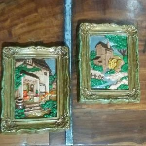 Other - Vintage Pair Handpainted  Plaster Plaques Pictures